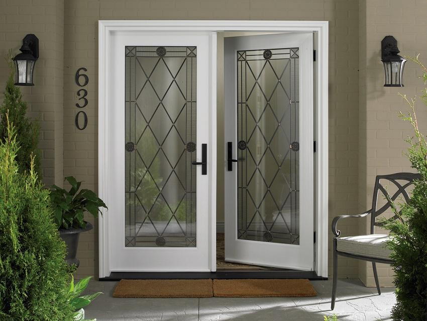 двери двойные с армированным стеклом входные